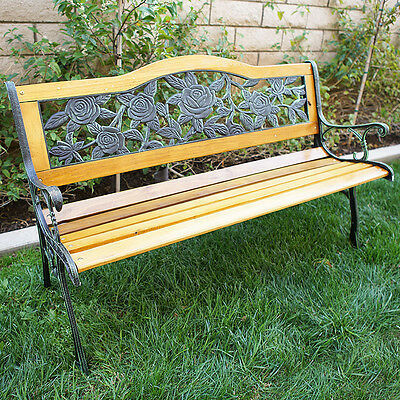 "Outdoor 50"" Floral Patio Porch Deck Hardwood Cast Iron Garden Bench Chair Park"