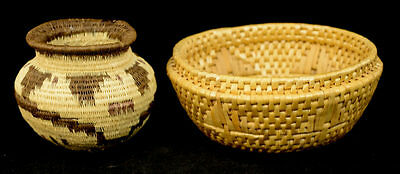 Vintage Lot of 2 Native American Indian Hand Woven Made Baskets L5A