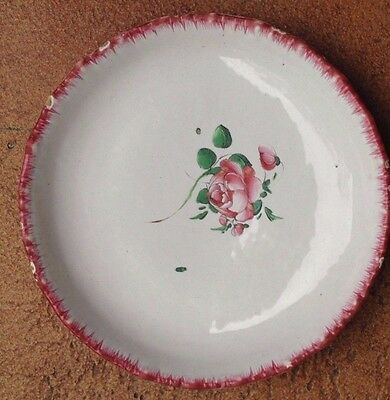"""ANTIQUE FAIENCE 8.5""""  HAND-PAINTED  BOWL  Hand Thrown. Feathered Edges  VERY OLD"""