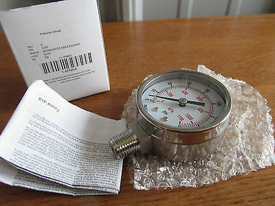 "Stainless 2"" Air/Water etc. Pressure GAUGE 1/4""npt 0-160psi SS #4FMK8 (U-75)"