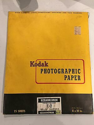 KODABROMIIDE E-2 SEALED 8x10, 25 SHEETS, EXP 1950 FINE GRAINED Kodak Photo Paper