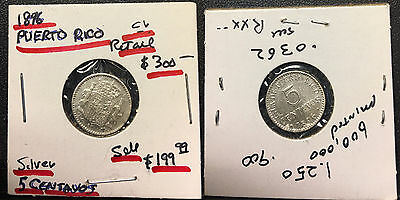 Puerto Rico 1896 five centavos Silver coin--Spanish King Alfonso XII ruled. $300