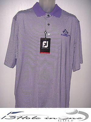 FootJoy FJ Men's Golf Shirt Short Sleeve Size L Lilac/Striped Nice Polyester NWT