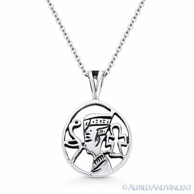Egyptian Pharaoh, Snake, & Ankh Charm Pendant & Necklace in .925 Sterling Silver