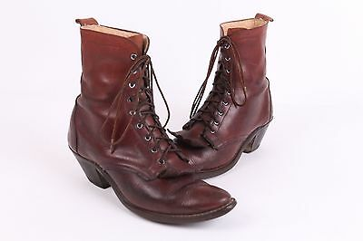 Vtg Laredo Western Leather Ankle Lace Up Granny Boots Womens 8.5 M