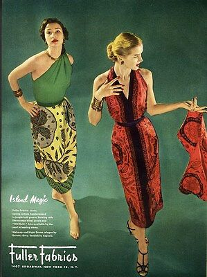 SARONG STYLE FABRICS for Exotic Dresses Fashion Ad Page 1950s FULLER FABRICS