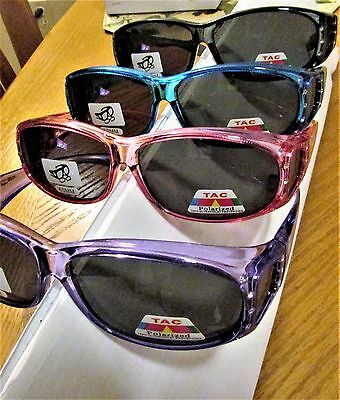 2 Fit overs Polarized Sunglasses with crystals  Wear over your glasses Cut Glare