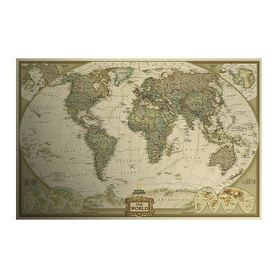 Large Vintage Style Retro Kraft Paper World Map Antique Poster Wall Decor P1001