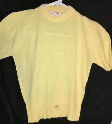 Vintage DEADSTOCK Old Store Stock 50s 60s Girls Lemon Yellow Orlon Sweater