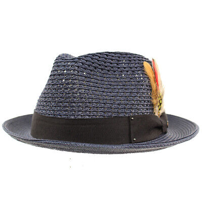 Men s Light Vented Removable Feather Derby Fedora Curled Brim Hat 1 ... d11cc5635b8b