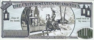 1775 PAUL REVERE Midnight Ride TRILLION Dollar BLACK EAGLE Bill ~ NEW in SLEEVE