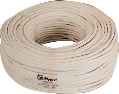 100 m cable electric bipolar section 2x0,75 mm rubber flexible white