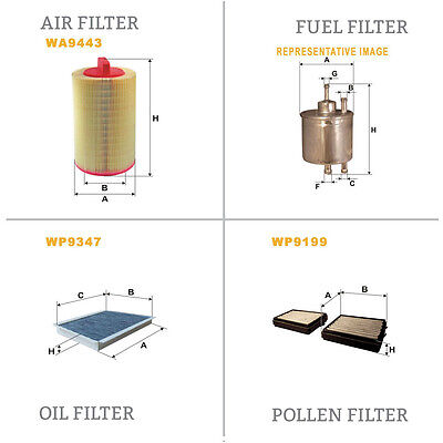 WIX Air le Pollen Huile & Carburant Kit Filtre Wa9443,Wp9199,Wp9347,Wf8175