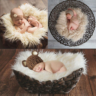 Newborn Infant Baby Soft Faux Fur Rug Mat Blanket Backdrop Photography Props new