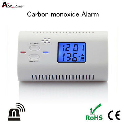 Carbon Monoxide Detector Poisoning Gas Fire Co Voice Warning LCD Alarm Sensor