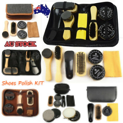 Deluxe Shoe Care Kit Polish Shoe Horn Sponge Brush Travel Polish Cloth Shine AU