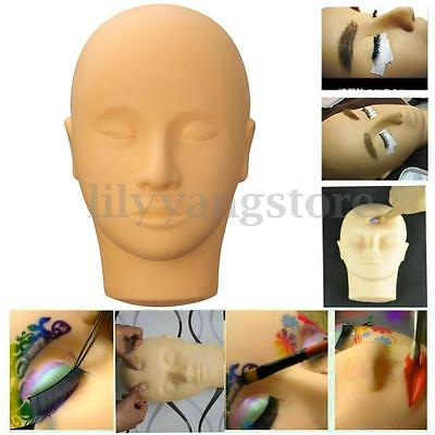 Mannequin Training Head Soft Silicone Makeup Eye Lashes Lip 3D Practice Tool