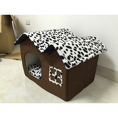 New cute indoor spot dog cat house cage pets Beds soft shelter kennels 7150