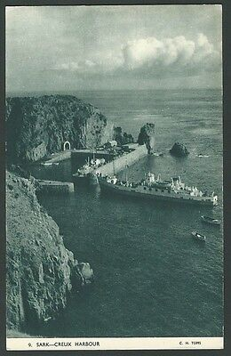 Sark Channel Isles Creux Harbour c1950s Toms Printed Postcard