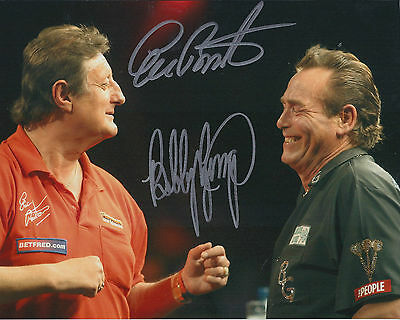 Eric BRISTOW & Bobby GEORGE Double Signed 10x8 Autograph Photo AFTAL COA DARTS