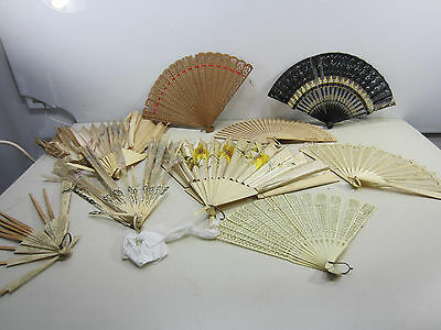 Antique & Vintage Lot of Bone & Wooden Ladies Hand Fans for Parts or Projects