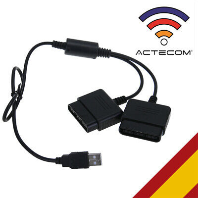 ACTECOM® Adaptador Conversor Mando PS1 PS2 PSX para PC PORTATIL Conector Doble