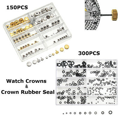 Mixed Silver Gold Watch Crown O Ring Watch Flat Rubber Seal Washer Assortment