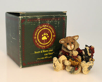 Boyds Bears Bearstone Figurine Collection 1993 Cookie the Santa Cat -  #2237
