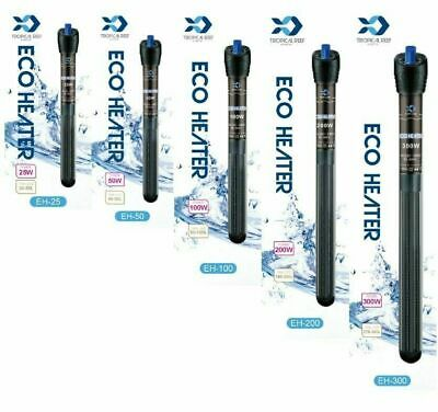 Tropical-Reef Aquarium Eco Heater 25W 50W 100W 200W 300W Fish Tank Thermostat ✔