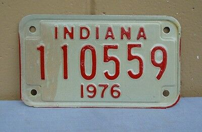 1976 Indiana Motorcycle License Plate  # 110559 Harley Triumph Chopper Cushman