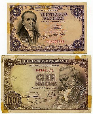 Lot of 2 1946 Bank of Spain 25 & 100 Pesetas Notes P130a & P131a #45503