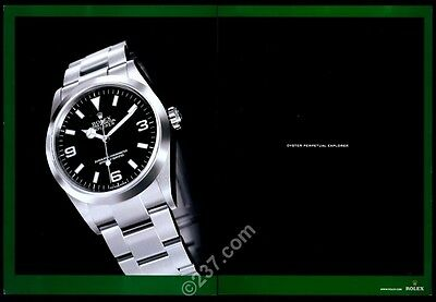 2004 Rolex Explorer silver watch big color photo vintage print ad