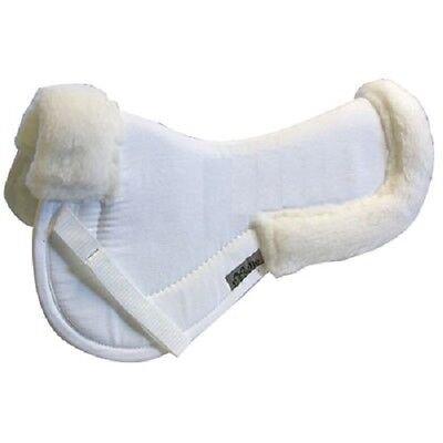Exselle White Fleece Wither Back Relief Thick English Hunt Seat Saddle Half Pad