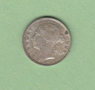 1889-H Mauritius 20 Cents Silver Coin - Scarce 250k Minted - EF/AU