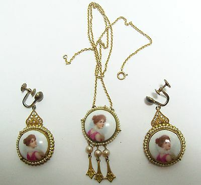 Antique Art Nouveau 14kt 14K Gold Portrait & Pearl Dangle Necklace & Earrings