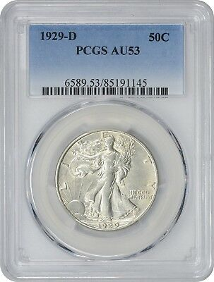 1929-D Walking Liberty Half AU53 PCGS Almost Uncirculated 53