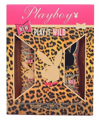 Playboy Play It Wild For Her Gift Set 75Ml Deo Body Fragrance + 250Ml S/g. New