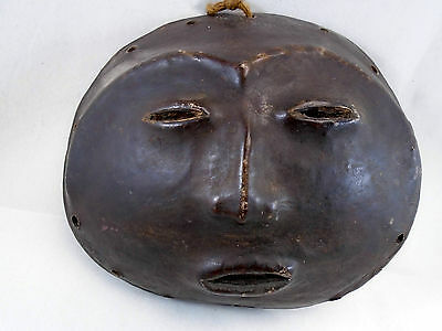 Primitive African Leather Covered Coconut Shell Mask Moon Face