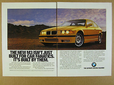 1995 BMW E36 M3 Coupe yellow car color photo vintage print Ad