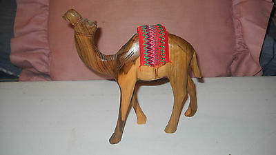 """Vtg Hand Carved Assorted Wood Camel Figure 6 1/4"""" Tall """" Great Detail"""