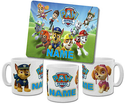 Personalised Paw Patrol Mug with Coaster & Placemat Options
