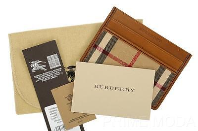 New Burberry Horseferry Check Leather Id Credit Card Holder Wallet Case