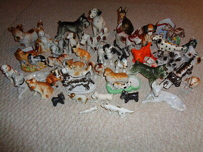 Various dog figurines styles color sizes husky scottie dalmation 40 pieces Japan
