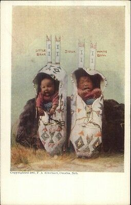 Native American Indian Babies Papoose Little Bear & White Bull Sioux Postcard