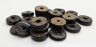 Brown Coconut Bead Flat Round Disc Donut 12mm Jewellery Making 100/200 Beads New