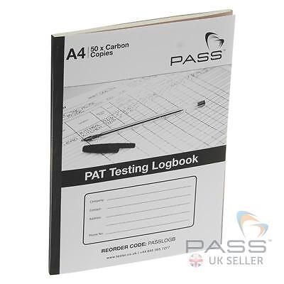 PASS PAT Testing Register Booklet Logbook with 50 sheets - up to 1100 results