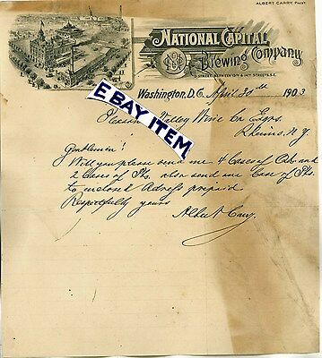 1903 LETTERHEAD Washington DC NATIONAL CAPITAL BREWING COMPANY Albert Carry BEER