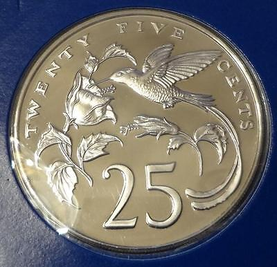 1976 Jamaica, 25 Cents, Proof, Low Mintage, Humming Bird