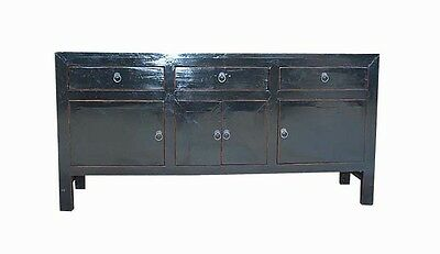 Nice Asian Chinese Black Solid  Low Cabinet TV Media Storage Stand Table 73-15c