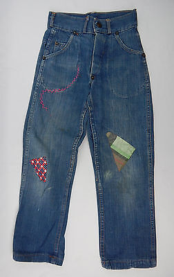 Vintage 1950's Kid's Youth Destroyed Denim Jeans Patched Repaired 21 x 21